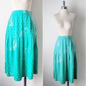 vintage 90's green 100% silk floral midi skirt
